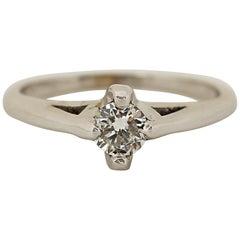 0.30 Carat Diamond Solitaire 14 Karat White Gold Ring