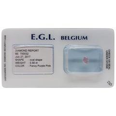 0.30 Carat EGL Certificate Fancy Purple Pink Color Oval Shape Diamond
