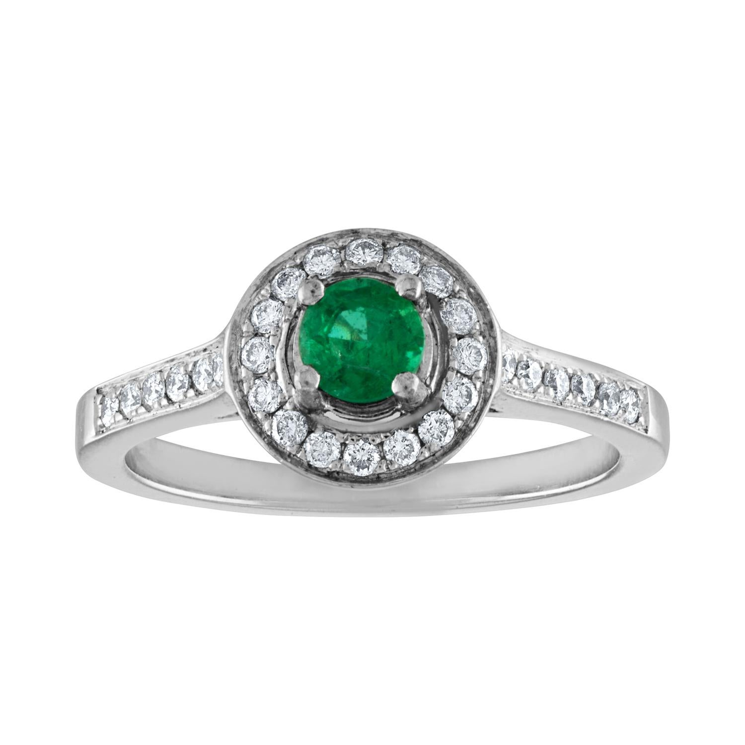 0.30 Carat Emerald Diamond Gold Ring