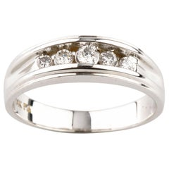 0.30 Carat Five-Stone Round Diamond Engagement Ring in White Gold