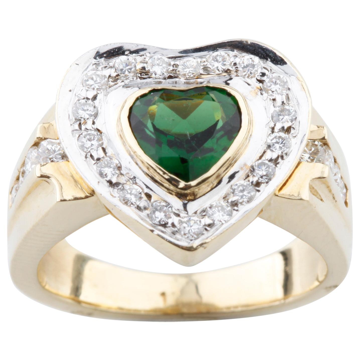 0.30 Carat Green Tourmaline Solitaire Ring with Diamond Accents in Yellow Gold