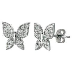 0.30 Carat Natural Diamond Butterfly Earrings G SI 14 Karat White Gold
