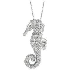 0.30 Carat Natural Diamond Seahorse Necklace Pendant 14 Karat White Gold Chain