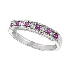 0.30 Carat Natural Pink Sapphire and Diamond Ring Band 14 Karat White Gold