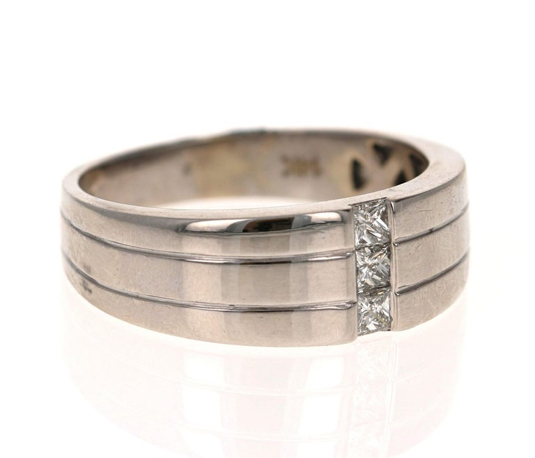 Modern 0.30 Carat Princess Cut Diamond Men's Wedding Band 14 Karat White Gold For Sale