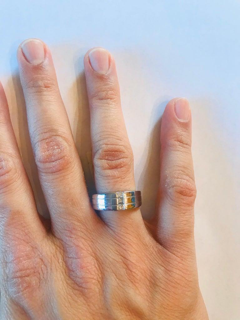 0.30 Carat Princess Cut Diamond Men's Wedding Band 14 Karat White Gold For Sale 1