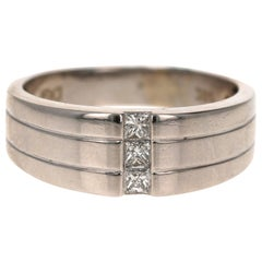 0.30 Carat Princess Cut Diamond Men's Wedding Band 14 Karat White Gold