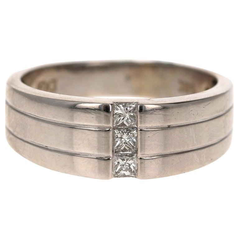 0.30 Carat Princess Cut Diamond Men's Wedding Band 14 Karat White Gold For Sale