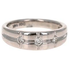 0.30 Carat Round Cut Diamond Men's Wedding Band 14 Karat White Gold