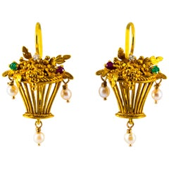 0.30 Carat White Diamond Emerald Ruby Pearl Yellow Gold Lever-Back Earrings