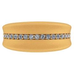 0.30 Carat White Diamonds 18 Karat Solid Yellow Gold Curved Organic Band