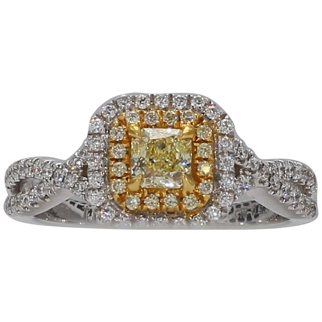 Natural Yellow Radiant Cut Diamond, White & Yellow Melee Ring 0.63tw  18K Gold