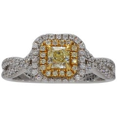 Natural Yellow Radiant Cut Diamond, White & Yellow Melee Ring 0.63tw  18K Gold