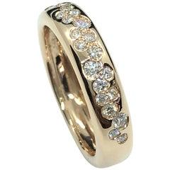 0.30 Carat White Pavé Diamonds Comfort Band Ring 18 Carat Rose Gold
