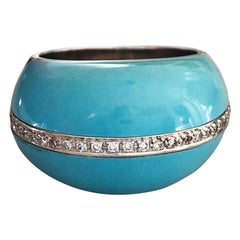 Berca 0.30Kt Diamond 21Kt Natural Hand Inlaid Turquoise White Gold Cocktail Ring