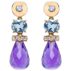 Ugolini 18Karat Gold 0.30Karat White Diamond Topaz Amethyst Drop Earrings