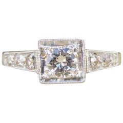 0.30ct Diamond Art Deco Square Faced Solitaire Ring in 18ct Yellow & White Gold
