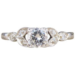 0.31 Carat Diamond Edwardian Square Faced Ring with Shoulders in Platinum