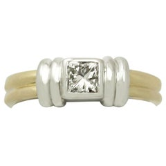 0.32 Carat Diamond and 18 Karat Gold Solitaire Ring Art Deco Style, Contemporary