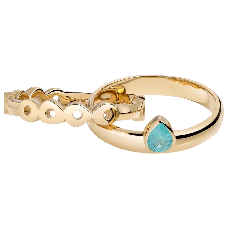 Hi June Parker 14 Karat Gold Connected Rings 0.32 Carat Paraiba Tourmaline