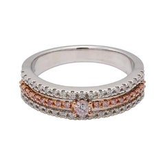 0.32 Carat TW Three Row Band Natural White and Pink Diamond Ring 18k White Gold