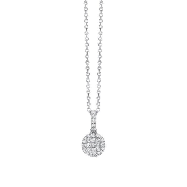 0.33 Carat Button Cluster 18 Karat White Gold Round Diamond Chain Pendant