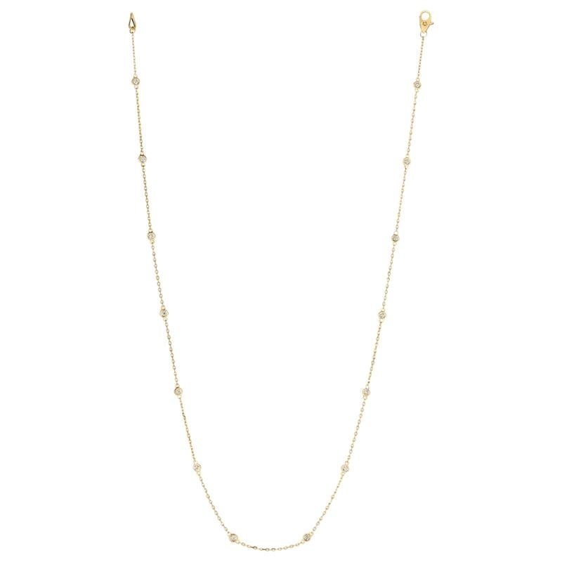 0.33 Carat Diamond by the Yard Necklace G SI 14 Karat Yellow Gold 14 Stones
