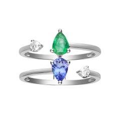 0.33 Carat Emerald and 0.42 Tanzanite and Diamond 14 Karat White Gold Ring