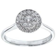 0.33 Carat Round Cut Cluster 18 Karat White Gold Tresor Paris Halo Diamond Ring