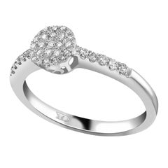 0.33 Carat Round Cut Diamond 18 Karat White Gold Engagement Cluster Ring