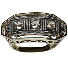 0.33 Rose Cut Diamonds 14 Karat Yellow Gold Engagement Ring