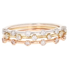 0.34 Round Cut Diamond White, Rose, Yellow Gold Stackable Bands