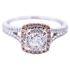 0.35 Carat Cushion Cut Diamond 14 Karat White and Rose Gold Engagement Ring