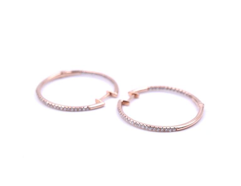 Round Cut 0.35 Carat Diamond 14 Karat Rose Gold Inside or Outside Hoop Earrings For Sale