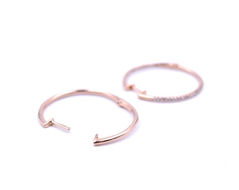 0.35 Carat Diamond 14 Karat Rose Gold Inside or Outside Hoop Earrings In Excellent Condition For Sale In Scottsdale, AZ