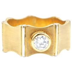 0.35 Carat Diamond 18 Karat Gold Band Ring 18 Karat White Gold Vertical Edges