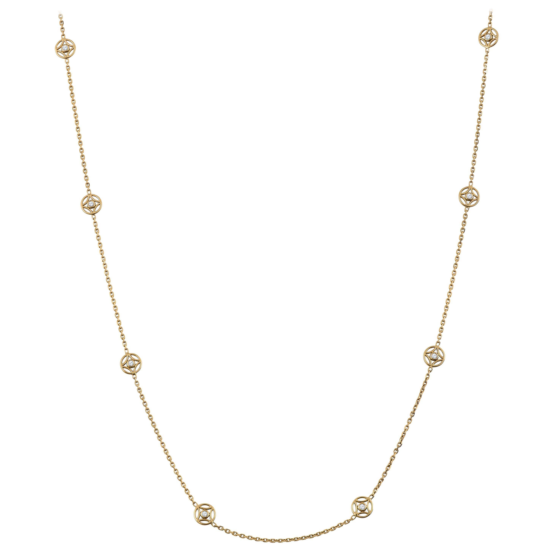 0.35 Carat Diamond 18 Karat Yellow Gold Station Necklace