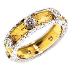 0.35 Carat Diamond and 18 Karat Florentine Engraved Eternity Band, Made in Italy