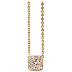 """0.35 Carat Mixed Cut Diamonds Set on a Handcrafted 18"""" Yellow Gold Necklace"""