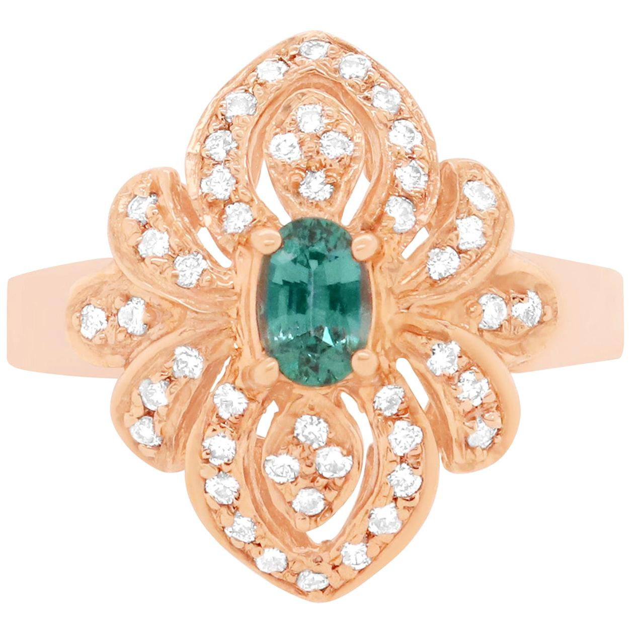 Natural Color Changing Alexandrite and White Diamond Cocktail Ring 14K Rose Gold