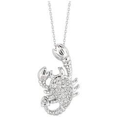 0.35 Carat Natural Diamond Scorpion Necklace Pendant 14 Karat White Gold G SI