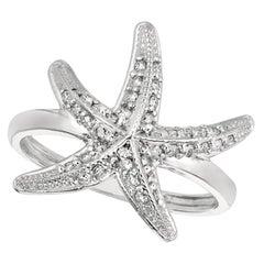 0.35 Carat Natural Diamond Starfish Ring Band G SI 14 Karat White Gold