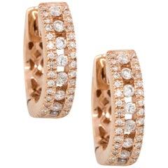 0.35 Carat Round Diamond Huggie Earrings 14 Karat in Stock