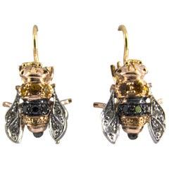 "0.35 Carat Sapphire 0.30 Carat Diamond Yellow Gold Lever-Back ""Bees"" Earrings"