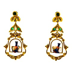 0.35 Carat White Diamond 0.30 Carat Emerald Coral Enamel Yellow Gold Earrings