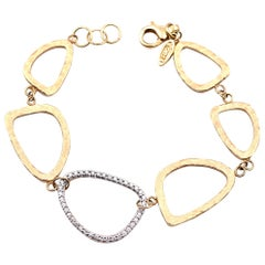 0.35 Carat Diamond 14 Karat Yellow Gold Open Circle Geometric Bracelet