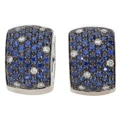 0.35 White GVS Diamonds 2.26 Blue Sapphires 18 Karat Gold Pavè Hoop Earrings