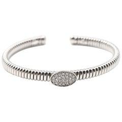 0.36 Carat Diamond 18 Karat White Gold Oval Flex Cuff Bracelet