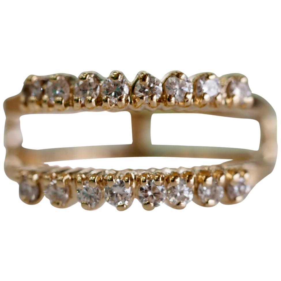 0.36 Carat Vintage Style 14 Karat Yellow Gold Diamond Ring Enhancer/ Wrap/Guard