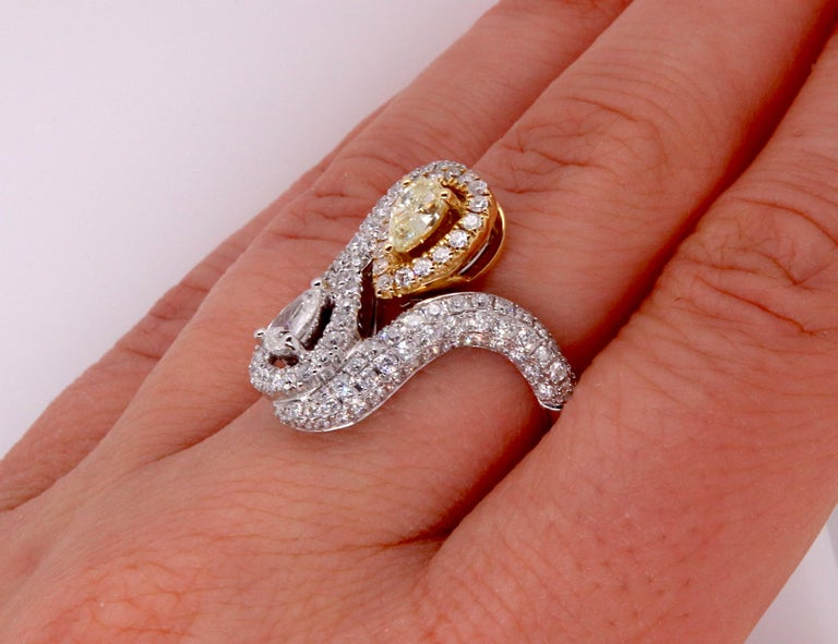 Pear Cut 0.36 Pear Shaped Yellow Diamond and White Diamond Ring For Sale